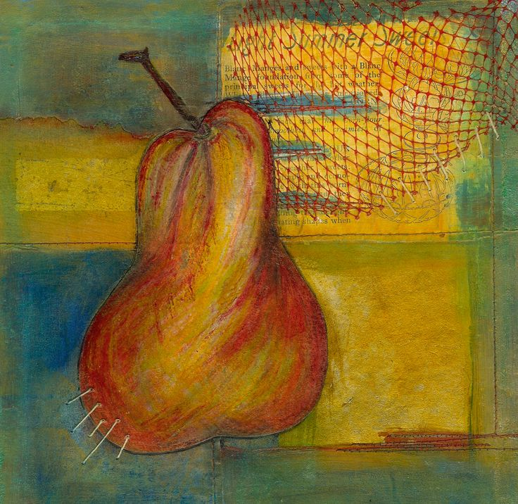 Pear Study in collage: Margaret Hage :found pieces including vintage recipe, vintage Chinese papers, vintage thread. Pear was drawn and coloured with layers of coloured pencil and cut out. Oil sticks acrylic, graphite, and wax medium. various techniques included hand and machine stitching and heat treatments used.