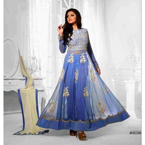 Beautiful designer Sky Blue  semi-stitched Anarkali Suit