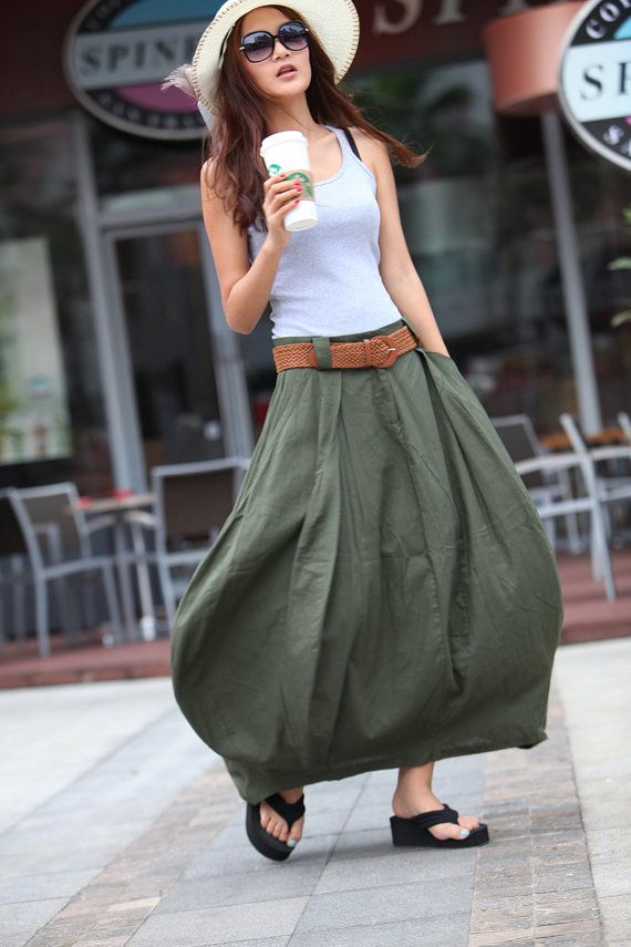 Romantic Army Green Pretty Linen Bud Long Maxi Skirt - NC023