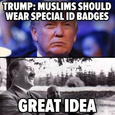 WTF Funny Political Meme: muslim should wear badge [trump meme]