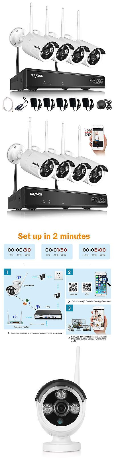 Security Cameras: Sannce 4Ch 720P Hd Nvr Wireless Ip Network Indoor Outdoor Security Camera System BUY IT NOW ONLY: $169.99