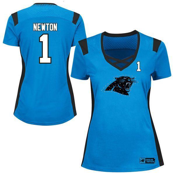 Cam Newton Carolina Panthers Majestic Women's Draft Him Name & Number Fashion T-Shirt - Light Blue - $64.99