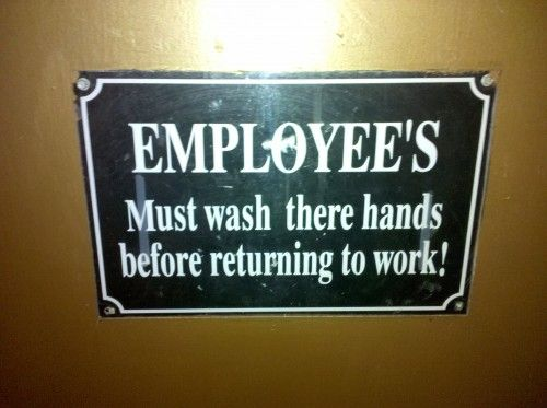 Sign with two grammar mistakes