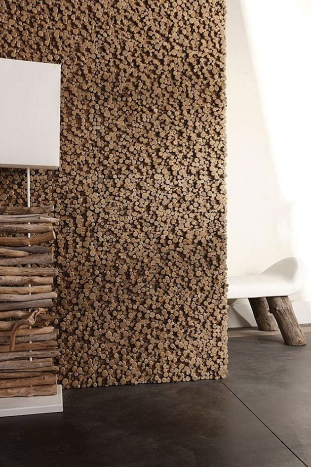 10 Ways To Incorporate Raw Woods Into Your Interior: wall of cut sticks