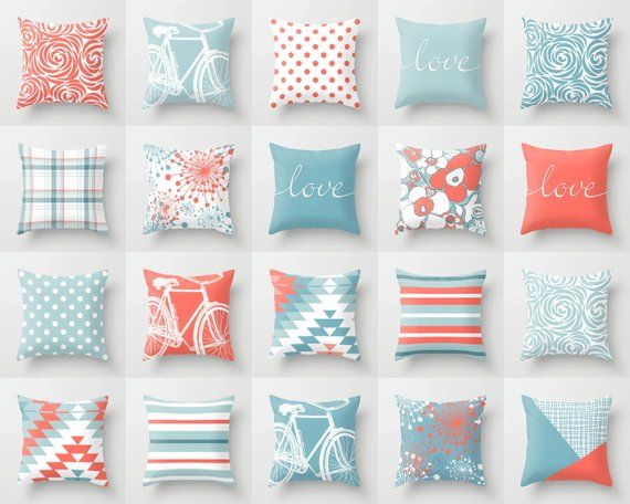 Living Coral Blue White Throw Pillow Mix And Match Indoor Etsy In 2020 White Throw Pillows Pillow Mixing Blue Throw Pillows