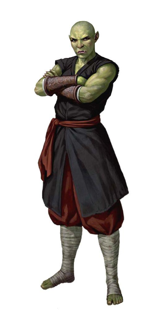 Male Half-Orc Monk - Pathfinder PFRPG DND D&D d20 fantasy ...