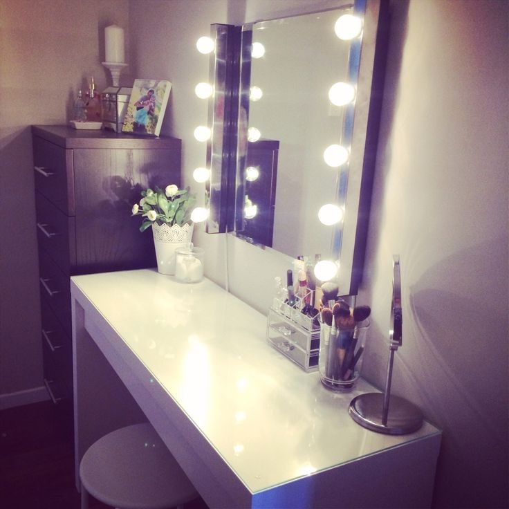 Ikea Malm Vanity. Mirror Lights And Stool Also From Ikea