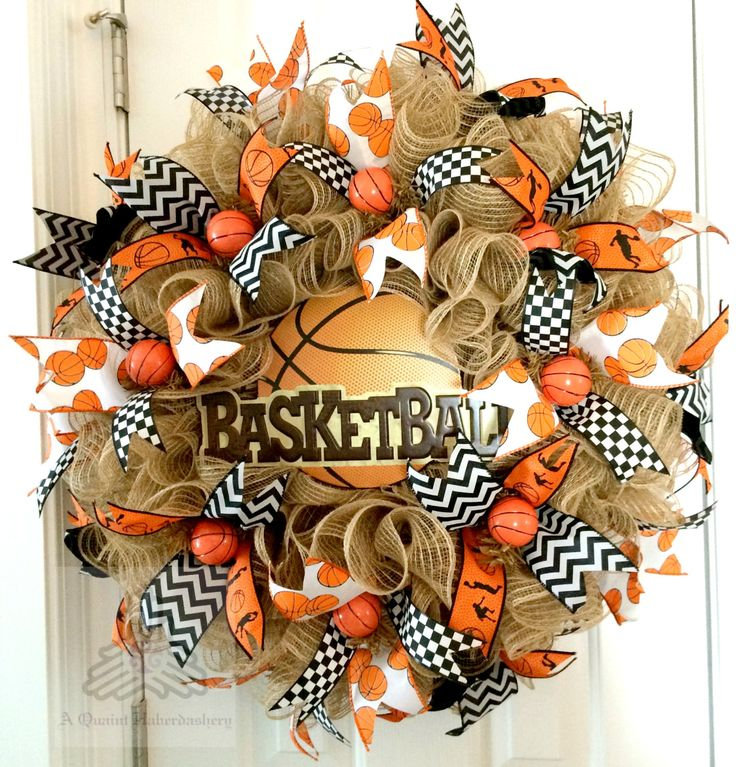 Basketball Sport Faux Burlap Jute Ruffle Deco Mesh Wreath by AQuaintHaberdashery on Etsy