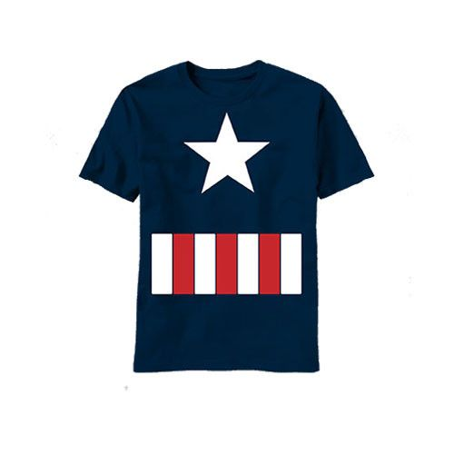 Now young Captain America fans can have the same fun as older fans with this awesome kids sized Captain America costume t-shirt. Wear it to school, to parties or to the mall to show you're a true blue