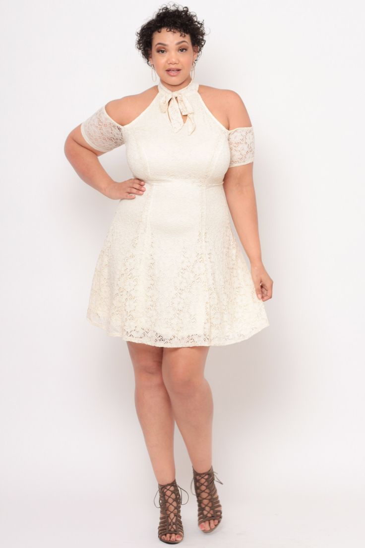 Plus Size Lace Overlay Pepper Ann Dress - Ivory
