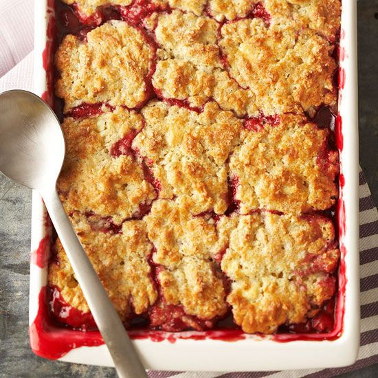 Cherry Cobbler with White Chocolate-Almond Biscuits | BHG: Desserts, Cherry Cobbler, White Chocolate Almonds, Chocolate Almonds Biscuits, Cherries Cobbler, Fruit Cobbler, Biscuits Recipes, Chocolates Almonds Biscuits, White Chocolates Almonds