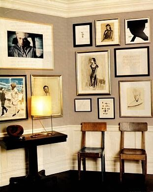 Gallery wall in home of Kate & Andy Spade