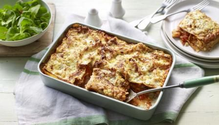 Here's a shortcut family lasagne that's ready in just 45 minutes. Cottage cheese makes it a healthier option, plus you don't need to make the traditional cheese sauce. Serve with a green salad or sweetcorn for even more of your five-a-day. Equipment: you'll need a 20x28cm/8x11in ovenproof dish