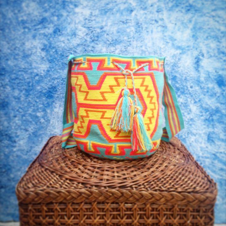 Wayúu colorful mochila bag designed by WAYA!! All handmade by the Wayúu people!  Visit www.wayaarte.com for more designs :)