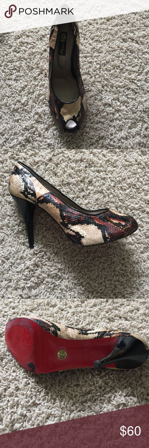 J.Renee luxe peep toe snake skin pumps Fun peep toe shoe with red sole!! You will love them and very versatile!! J. Renee luxe Shoes Heels