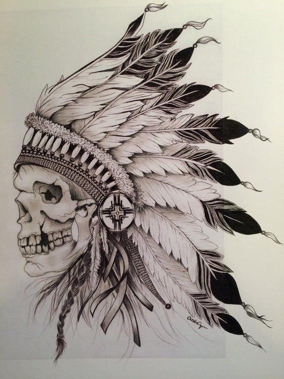 Картинка нарисованная индеец с перьями