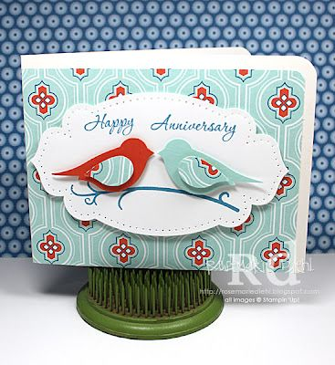 handmade anniversary card fromRose's World ... two step birds ... luv how the bird colors came from the patterned paper ... like the layout design ... Stampin' Up!