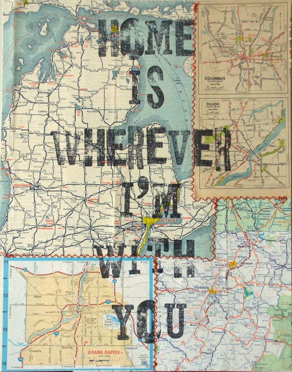 Vintage Sewn Map Print - Edward Sharpe & The Magnetic Zeros lyric