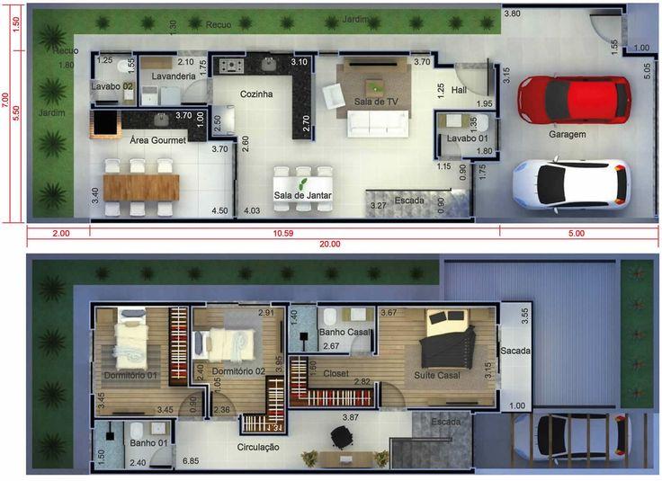 Mejores 16 im genes de planos de la casa en pinterest de for Casa moderna 7x20