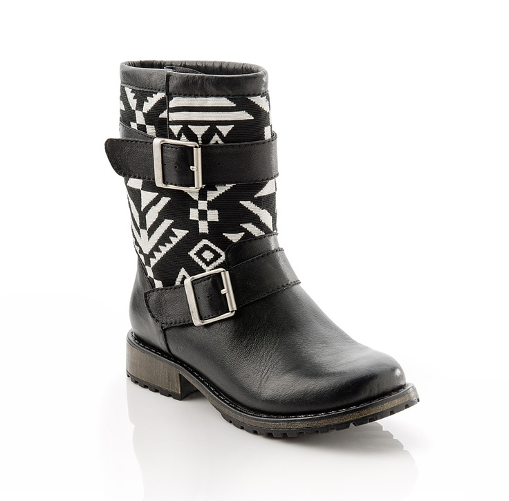 Wow! Black and White Aztec-Print Boots. Just add a motorcycle and you're set!