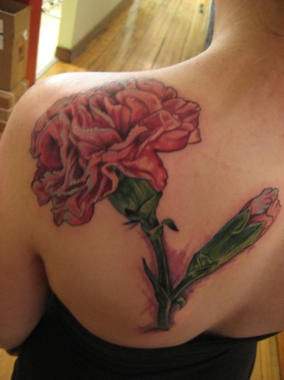 Carnation tattoo..  Maybe not so large. Just can't decide where I want it.