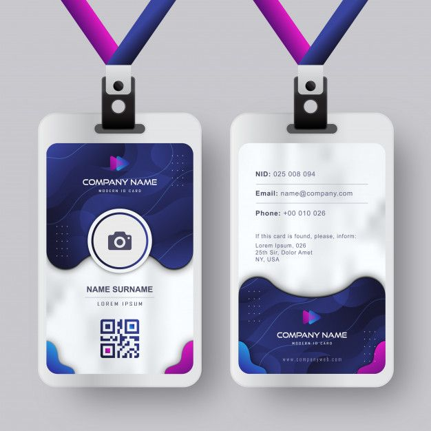 Modern Id Card Template With Gradient Blue Navy Abstract Liquid