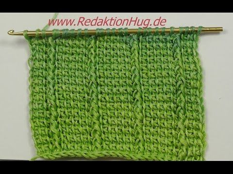 Tunisian Crochet - reliefs in basic pattern (IN GERMAN - If you are familiar with Tunisian Crochet you can watch this video to learn this stitch... The video is very good... Deb)