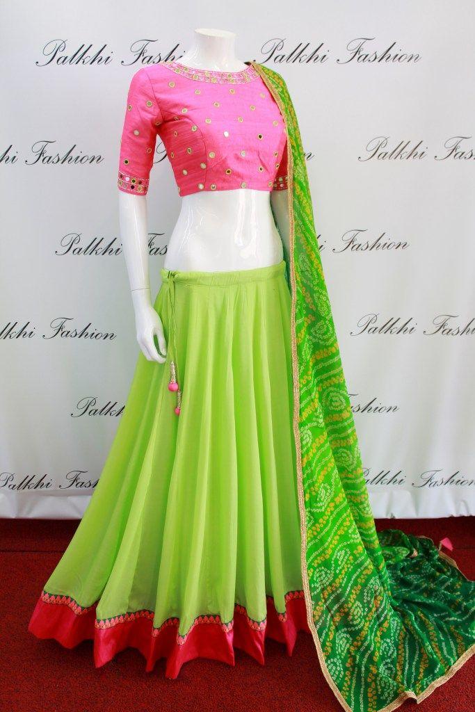 PalkhiFashion Exclusive Parrot Green Full Flair Premium Georgette Chaniya Choli with Elegant handwork Blouse and Pure Bandhni Duppata.