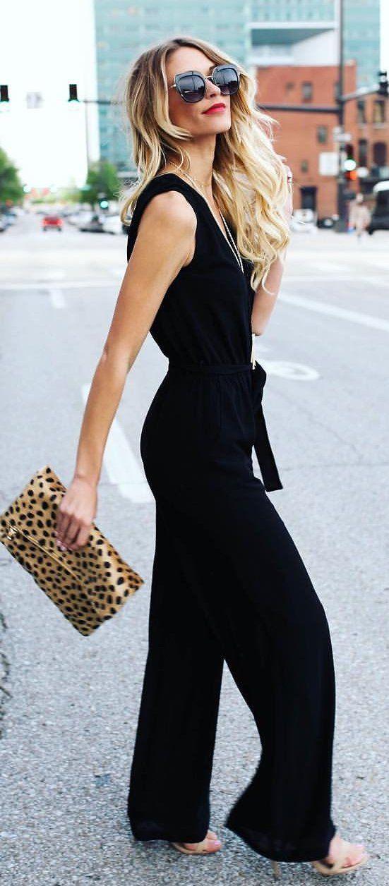 #summer #outfits Black Jumper + Leopard Clutch
