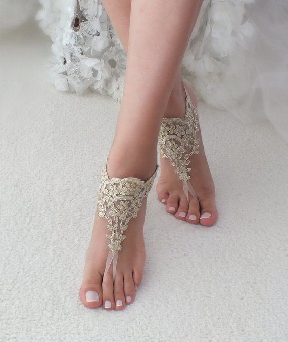 c073bdbc1 Gold Beach wedding barefoot sandals Ivory Barefoot Sandals