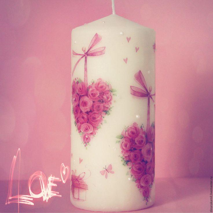 Купить Свеча LOVE - свечи ручной работы, декупаж свечи, свечи семейный очаг
