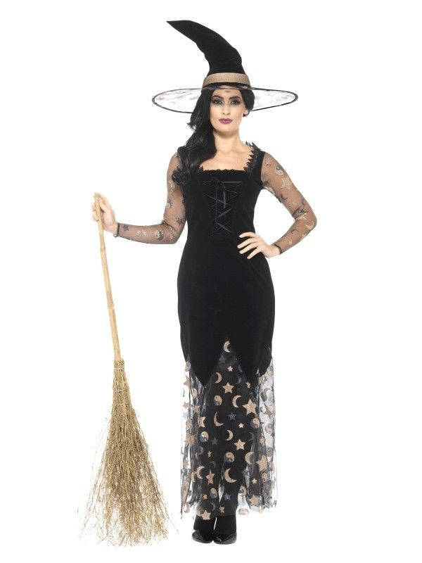 LADIES GOTHIC WIFE COSTUME HALLOWEEN FANCY DRESS WITCH WOMENS UK SIZES 6-24