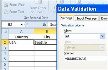 Different Drop Down Lists in Same Excel Cell