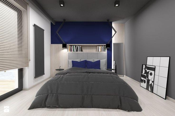 Projekt domu jednorodzinnego 3 - Średnia sypialnia małżeńska z balkonem / tarasem, styl nowoczesny - zdjęcie od BAGUA Pracownia Architektury Wnętrz