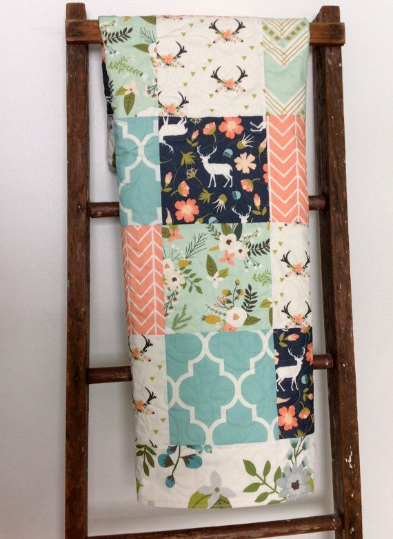 Baby Girl Quilt, Fawn, Stag, Deer, Woodland, Floral, Chevron, Navy, Mint, Coral…