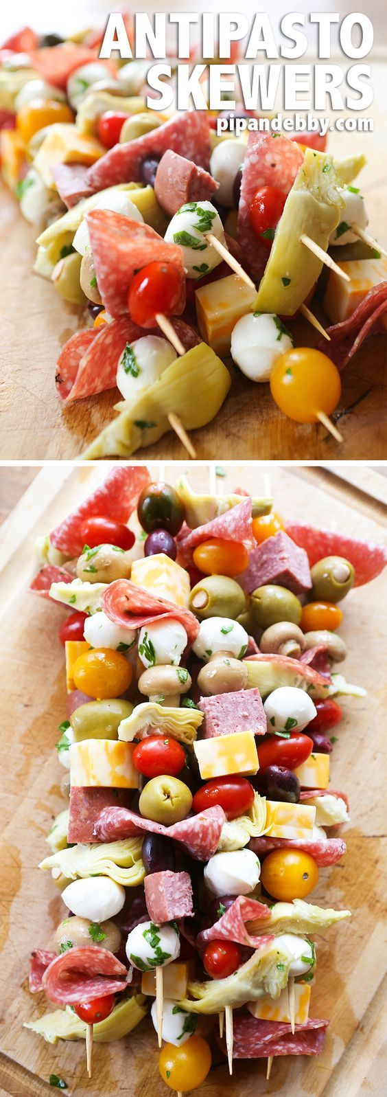 Antipasto Skewers | Turn Antipasto Salad into a delicious finger food! These Antipasto Skewers are easy to prepare and they're great as an appetizer or party food.