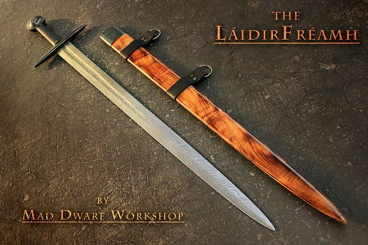 """Crafted to be royal yet simplistic in its design and function, a sword of a noble yet humble enough to defend the weakest of weak in times of need. Historically rooted but with a flare of lost legends in the wild patterns of the steel and figured wood grain. The pattern welded blade was welded in the coal forge by Andy Davis, and completed by David DelaGardelle. Lightweight, swift, balanced, and powerful in the hands of its wielder.  Stats: OAL: 37 1/2"""" Blade length: 31"""" Blade width: 1 3/4""""…"""