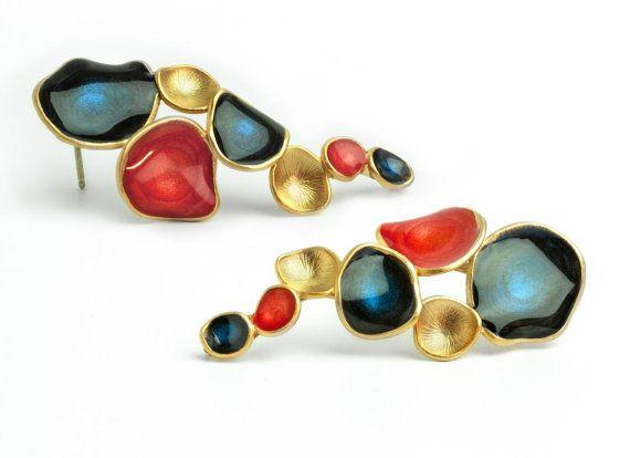 red gold earrings dark blue earrings cascade by oBoCreations