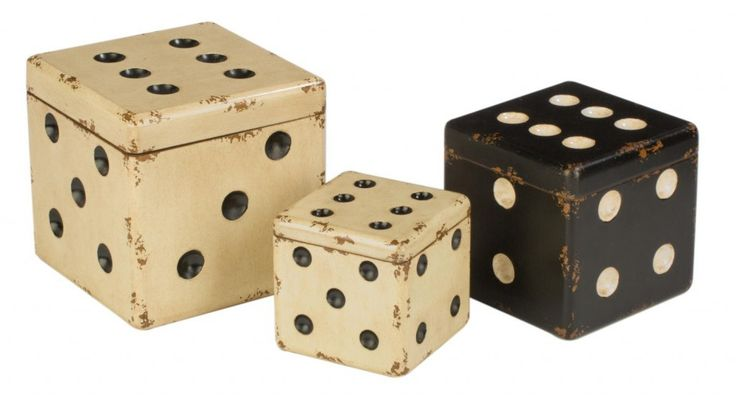 Decorative Retro Wooden Dice Stackable Storage Boxes in Black and ...