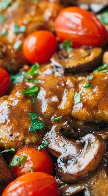 Drunken Chicken Marsala with Tomatoes