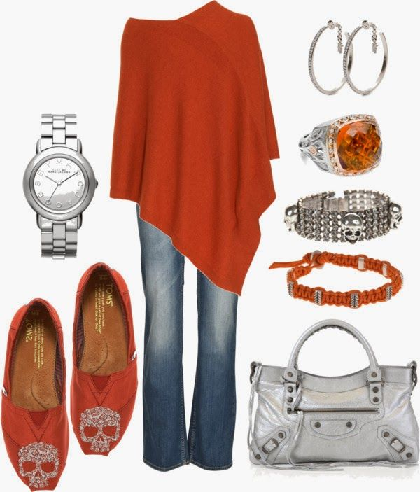 Chic Outfit: Toms, Clothing, Burnt Orange, Outfit, Skulls Details, Styles, Ponchos, Gorgeous Color, Skulls Shoes