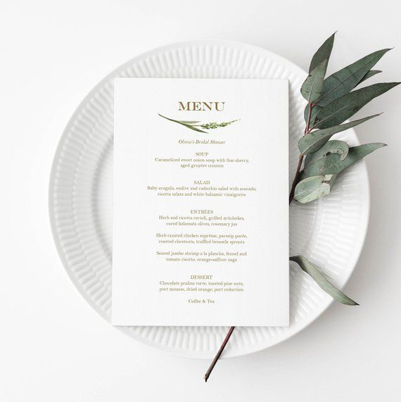 Editable Greenery Event Menu Editable 5x7 Menu Card Template Etsy Menu Card Template Event Menu Menu Cards