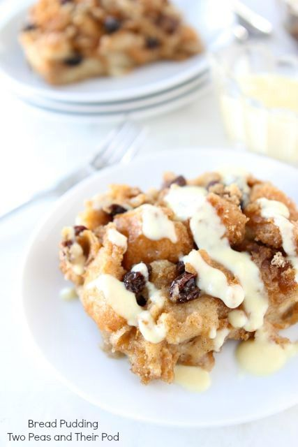Bread Pudding with Vanilla Custard Sauce Recipe on twopeasandtheirpod.com Love this comforting and delicious dessert!