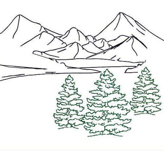 Embroidery Design Fir Tree Trio Outline Mountain Landscape Redwork