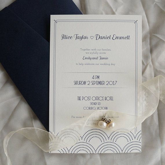 Art deco inspired wedding invitation with a fan design. Printed in navy ink on slightly textured off white paper, this design is simple yet sophisticated. Order a custom design if you prefer!
