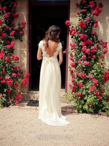 Sheath/Column Ivory V-neck Tulle Lace Cap Straps Open Back Unusual Wedding Dress…