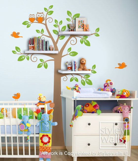 Children Wall Decal Shelves Tree Decal  -Shelf Tree Wall Decal Nursery Kids Decal Wall Sticker Room Decor. $99.00, via Etsy.