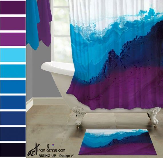 Colorful Shower Curtain And Bath Mat Set Modern Blue Purple Plum
