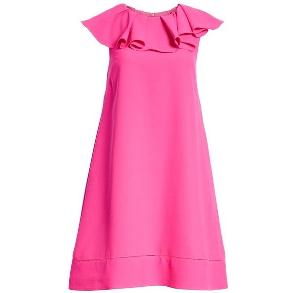 Women's Ted Baker London Ruffled Neck Shift Dress (3.512.815 IDR) ❤ liked on Polyvore featuring dresses, bright pink, pink dress, frill dress, ted baker dresses, flutter-sleeve dresses and frilly dresses