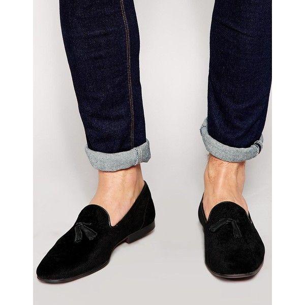 ASOS Tassel Loafers in Floral Velvet ($48) ❤ liked on Polyvore featuring men's fashion, men's shoes, men's loafers, black, slip-on loafers, black slip on shoes, slip on shoes, asos shoes and black velvet loafers